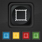 Photo frame template icon sign. symbol Squared colourful buttons on black texture. Vector — Stock Vector