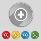 Plus, Positive, zoom icon sign. Symbol on five flat buttons. Vector — Stockvector