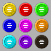 Center alignment icon sign. symbol on nine round colourful buttons. Vector — Stock Vector
