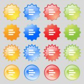 Left-aligned icon sign. Big set of 16 colorful modern buttons for your design. Vector — Stockvektor
