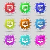 Aspect ratio 16 9 widescreen tv icon sign. A set of nine original needle buttons. Vector — Stock Vector