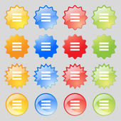 Align text to the width icon sign. Big set of 16 colorful modern buttons for your design. Vector — Stock Vector
