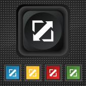 Deploying video, screen size icon sign. symbol Squared colourful buttons on black texture. Vector — Stock Vector