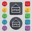 Open icon sign. A set of 12 colored buttons and a long shadow — Stock Vector #68622781