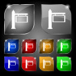 Information Road Sign icon sign. Set of ten colorful buttons with glare. Vector — Vector de stock  #68622843