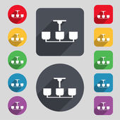 Chandelier Light Lamp icon sign. A set of 12 colored buttons and a long shadow — Stok Vektör