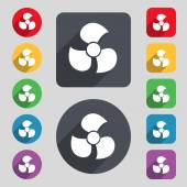 Fans, propeller icon sign. A set of 12 colored buttons and a long shadow — Stock Vector