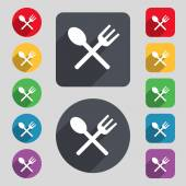 Fork and spoon crosswise, Cutlery, Eat icon sign. A set of 12 colored buttons and a long shadow — Stock Vector