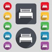 Hotel, bed ikonen tecken. En uppsättning av 12 färgade knappar och en lång skugga — Stockvektor
