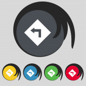 Road sign warning of dangerous left curve icon sign. Symbol on five colored buttons. Vector — Stock Vector