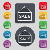 SALE tag icon sign. A set of 12 colored buttons and a long shadow — Stock Vector