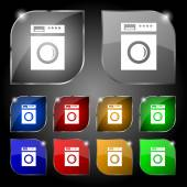 Washing machine icon sign. Set of ten colorful buttons with glare. Vector — Stock Vector