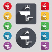 Washbasin icon sign. A set of 12 colored buttons and a long shadow — Stockvector