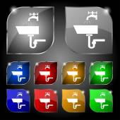 Washbasin icon sign. Set of ten colorful buttons with glare. Vector — Stok Vektör