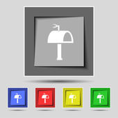 Mailbox icon sign on the original five colored buttons. Vector — Vector de stock
