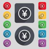 Japanese Yuan icon sign. A set of 12 colored buttons and a long shadow — Stock Vector