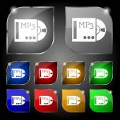 Mp3 player icon sign. Set of ten colorful buttons with glare. Vector — Stock Vector
