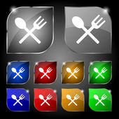 Fork and spoon crosswise, Cutlery, Eat icon sign. Set of ten colorful buttons with glare. Vector — Stock Vector