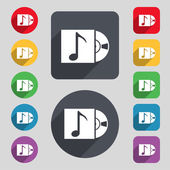 Cd player icon sign. A set of 12 colored buttons and a long shadow — Stockvektor