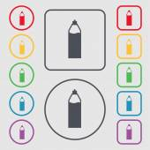 Plastic bottle with drink icon sign. symbol on the Round and square buttons with frame. Vector — Vetor de Stock