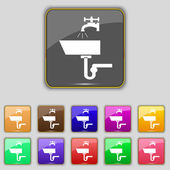 Washbasin icon sign. Set with eleven colored buttons for your site. Vector — Stok Vektör