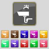 Washbasin icon sign. Set with eleven colored buttons for your site. Vector — ストックベクタ
