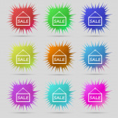 SALE tag icon sign. A set of nine original needle buttons. Vector — Stock Vector