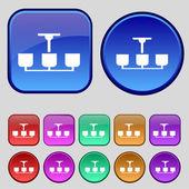 Chandelier Light Lamp icon sign. A set of twelve vintage buttons for your design. Vector — Stockvektor