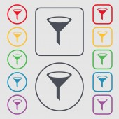 Funnel icon sign. symbol on the Round and square buttons with frame. Vector — ストックベクタ