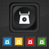 Kitchen scales icon sign. symbol Squared colourful buttons on black texture. Vector — Stock Vector