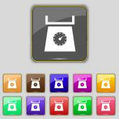 Kitchen scales icon sign. Set with eleven colored buttons for your site. Vector — Stock Vector