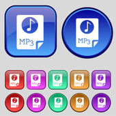 Audio, MP3 file icon sign. A set of twelve vintage buttons for your design. Vector — Stock Vector