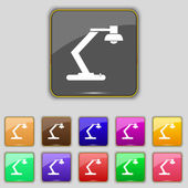 Light, bulb, electricity icon sign. Set with eleven colored buttons for your site. Vector — ストックベクタ