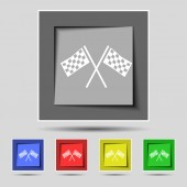 Race Flag Finish icon sign on the original five colored buttons. Vector — Stock Vector