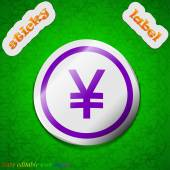 Japanese Yuan icon sign. Symbol chic colored sticky label on green background. Vector — Stock Vector