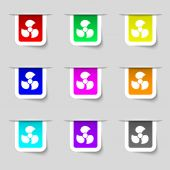 Fans, propeller icon sign. Set of multicolored modern labels for your design. Vector — Stock Vector