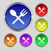 Fork and spoon crosswise, Cutlery, Eat icon sign. Round symbol on bright colourful buttons. Vector — Stock Vector