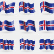Set of Iceland flags in the air. Vector — Stock Vector #69204381