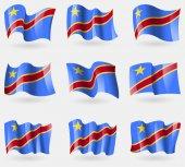 Set of Congo Democratic Republic flags in the air. Vector — Stock Vector