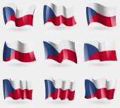 Set of Czech Republic flags in the air. Vector — Stock Vector