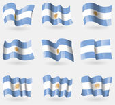 Set of Argentina flags in the air. Vector — Stok Vektör