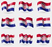 Set of Croatia flags in the air. Vector — Stock Vector