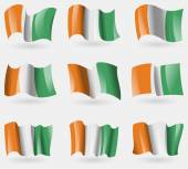 Set of Cote dlvoire flags in the air. Vector — Stock Vector
