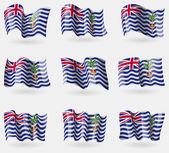 Set of British Indian Ocean Territory flags in the air. Vector — Cтоковый вектор