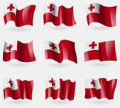 Set of Tonga flags in the air. Vector — Stock Vector