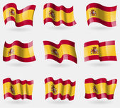 Set of Spain flags in the air. Vector — Stock Vector