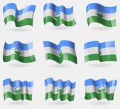 Набор флагов Kabardinobalkaria в воздухе. Вектор — Cтоковый вектор
