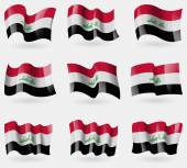 Set of Iraq flags in the air. Vector — Stock Vector