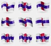 Set of Netherlands Antilles flags in the air. Vector — Stock Vector