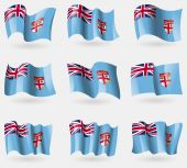 Set of Fiji flags in the air. Vector — Vecteur